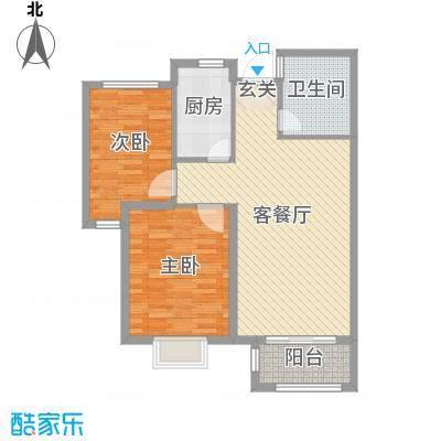 钱江绿洲88.72㎡一期9#标准层B2户型2室2厅1卫1厨