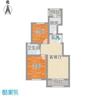 盛泽伯爵山87.55㎡高层15#20#楼P1两居户型2室2厅1卫1厨