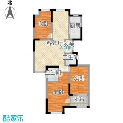 荣盛香堤荣府108.00㎡1#6#9#高层D户型3室3厅2卫1厨