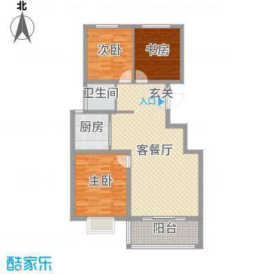 翡翠城94.00㎡1号楼高层D户型3室3厅1卫1厨