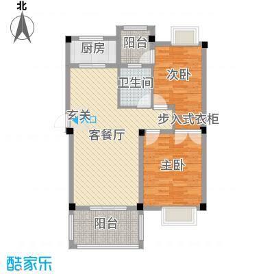 香山听泉86.47㎡D1户型2室2厅1卫1厨