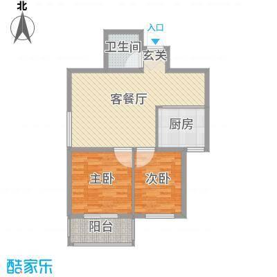 北港富海家园78.00㎡高层B户型2室2厅1卫1厨