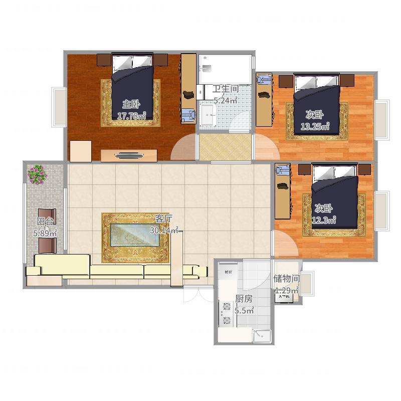 户型更新德阳_三元软件_2015-09-06-0823建筑面积:105平方米设计绘制横断面图小区图片