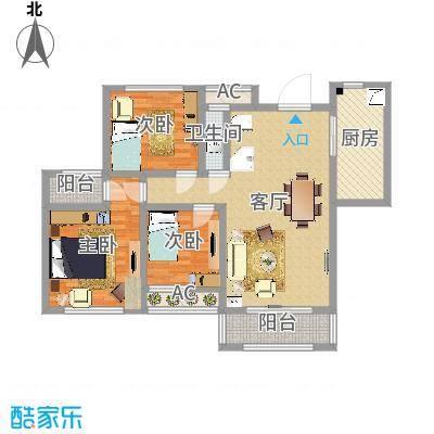 爱伦坡125.00㎡高层C户型3室2厅1卫1厨-副本-副本