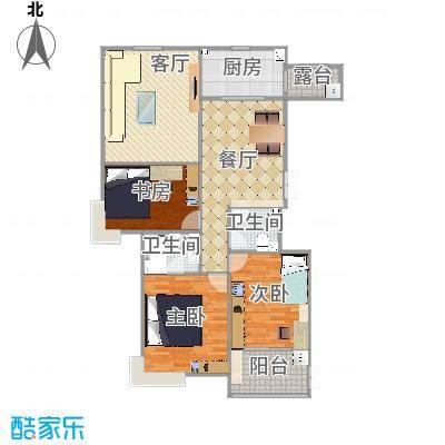 汇中广场1号楼/2号楼 B1户型 三室二厅二卫 138.19㎡/139.27㎡户型3室2厅2卫-副本