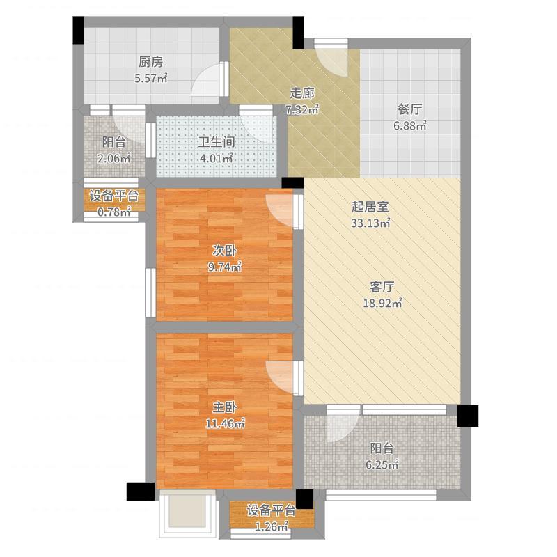 青岛碧桂园86.82㎡洋房户型2室2厅1卫-副本