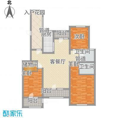 生态城公园360°158.00㎡22#23#28#楼三居户型3室2厅2卫1厨-副本