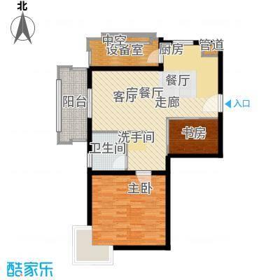 上海香溢花城75.00㎡9#A户型1室2厅1卫1厨
