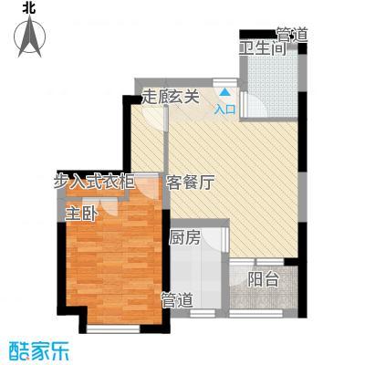 鹏润伊顿公馆64.84㎡B-2户型1室1厅1卫1厨