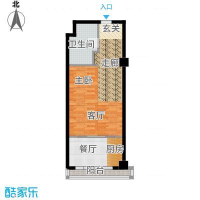 三湘四季花城财富广场50.00㎡MINI公寓户型1室1厅1卫1厨