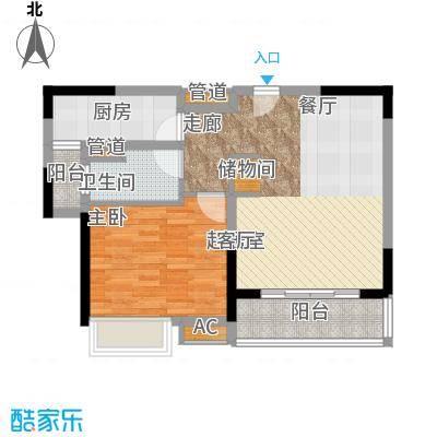 东方御水湾65.00㎡65平B户型1室2厅1卫1厨