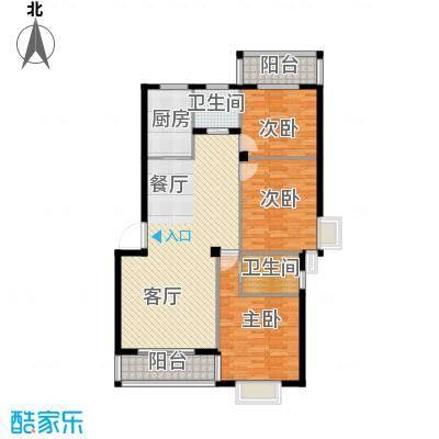 乾水湾126.32㎡B2户型3室1厅2卫1厨
