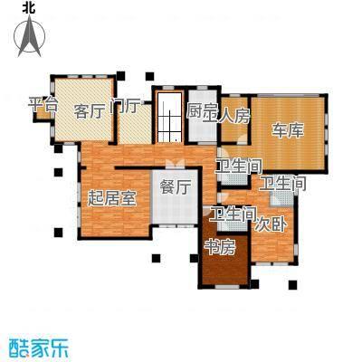 汀香别墅二期402.30㎡9栋一层户型2室1厅3卫1厨