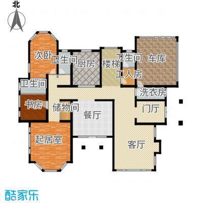汀香别墅二期494.14㎡14栋一层户型2室1厅3卫1厨