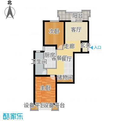 上海香溢花城102.94㎡4#C户型2室2厅1卫1厨
