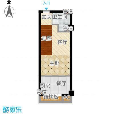 三湘四季花城财富广场40.00㎡MINI公寓户型1室1厅1卫1厨