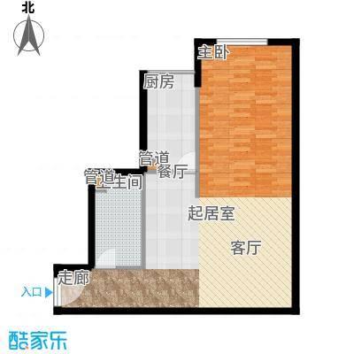 仙都绿苑71.24㎡上海陆家嘴大人物()户型1室1厅1卫1厨