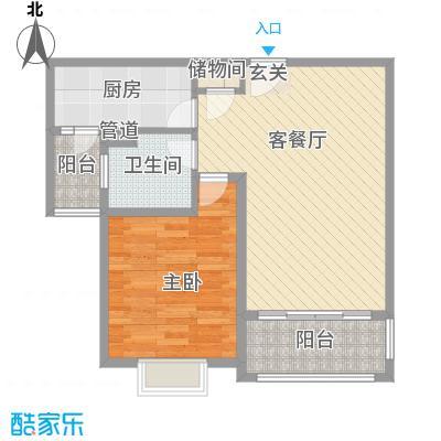 吉利名苑72.49㎡上海户型1室2厅1卫1厨