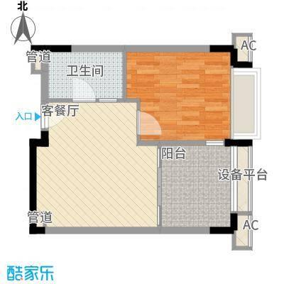 太湖天城62.00㎡7、8#62㎡B户型1室1厅1卫1厨