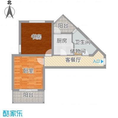 河滨国际公寓75.00㎡一房B型户型1室1厅1卫