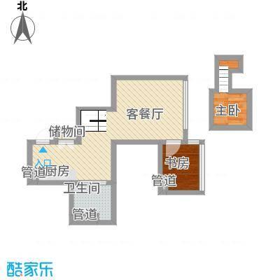大众河滨57.18㎡上海户型1室2厅1卫1厨