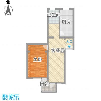 华佳花园77.36㎡上海户型1室2厅1卫1厨