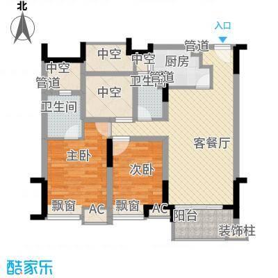 绿地新南路壹号公寓102.28㎡公寓B户型2室2厅2卫