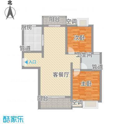 锦梅苑111.49㎡B1户型2室2厅1卫1厨