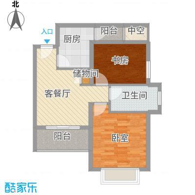 河滨国际公寓77.00㎡二房A型户型2室1厅1卫