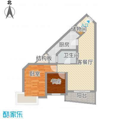 河滨国际公寓87.00㎡二房B型户型2室1厅1卫