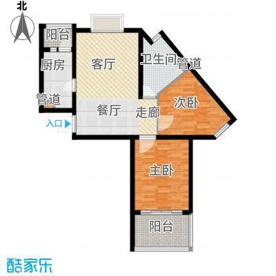 恒阳花苑海上花87.30㎡上海海上花(恒阳花苑)户型2室2厅1卫1厨