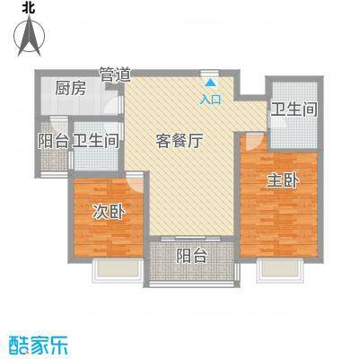 申润江涛苑123.00㎡申润江涛苑123.00㎡2室2厅1卫1厨户型2室2厅1卫1厨