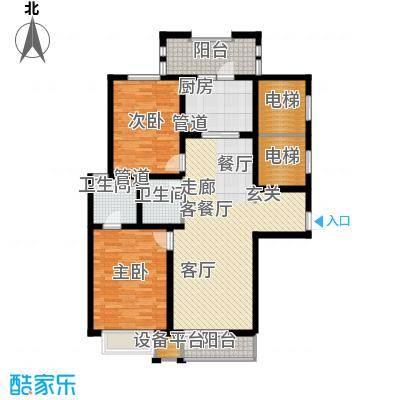 上海香溢花城114.20㎡1#C户型2室2厅1卫1厨