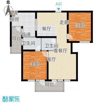 上海香溢花城124.00㎡1#B户型2室2厅1卫1厨
