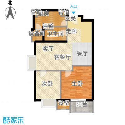 上海香溢花城86.00㎡9#J户型2室2厅1卫1厨