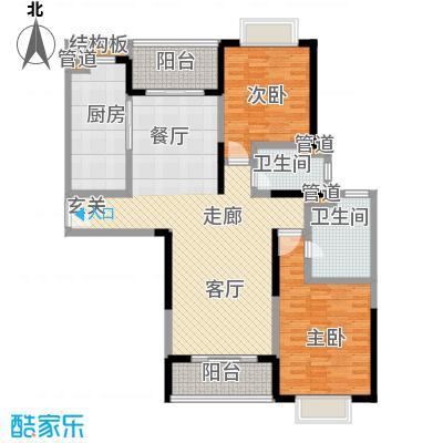 远雄徐汇园125.95㎡D户型2室2厅2卫1厨