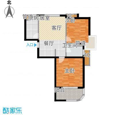 金铭文博水景77.32㎡3-6号楼D'户型2室2厅1卫1厨