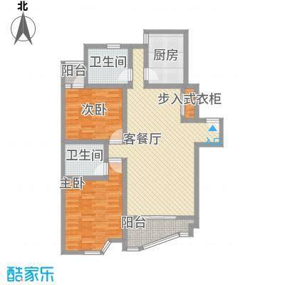 盛顺意苑122.49㎡盛顺意苑2室2厅2卫1厨户型2室2厅2卫1厨