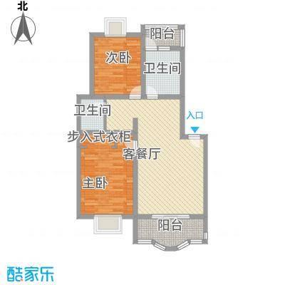 东方滨港园89.85㎡上海户型2室2厅1卫1厨