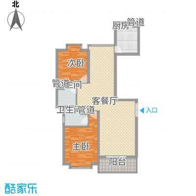 御水豪庭121.78㎡E户型2室2厅2卫1厨