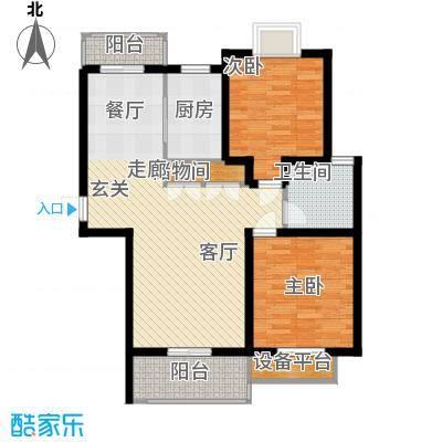 保利金爵公寓86.00㎡E型户型2室2厅1卫1厨