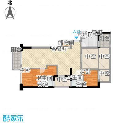 康桥半岛国际公寓120.67㎡C户型2室2厅2卫