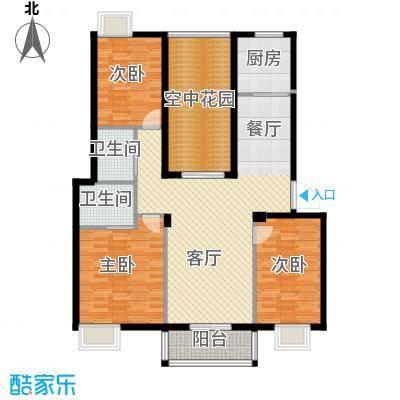 乾水湾124.40㎡B1户型3室1厅2卫1厨