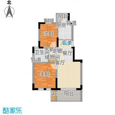 红墅1858公寓80.00㎡G户型2室2厅1卫