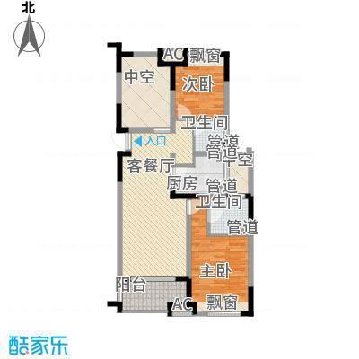 绿地新南路壹号公寓104.56㎡公寓C户型2室2厅2卫