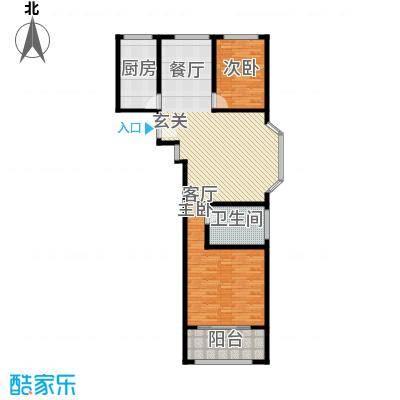 卢湾都市花园101.24㎡上海户型2室2厅1卫1厨