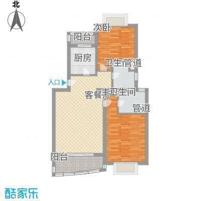 秋月枫舍100.00㎡上海户型2室1厅2卫1厨