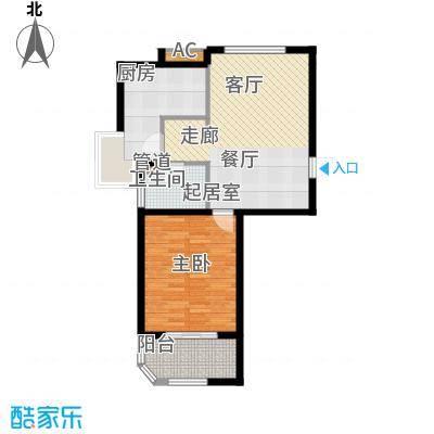 金铭文博水景70.72㎡3-6号楼D2户型1室2厅1卫1厨