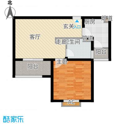 杉林新月家园62.70㎡上海户型1室2厅1卫1厨