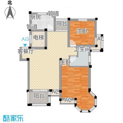 东苑米蓝城100.00㎡上海户型2室2厅1卫1厨